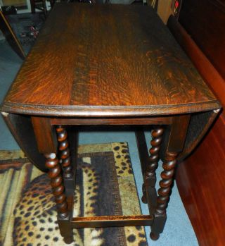 Antique English Oak Drop Leaf Gate Leg Drop Side Barley Twist Sofa Lamp Table photo
