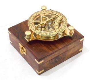 Brass Sundial Compass With Wood Box Nautical Marine Sundial Compass 4.  5