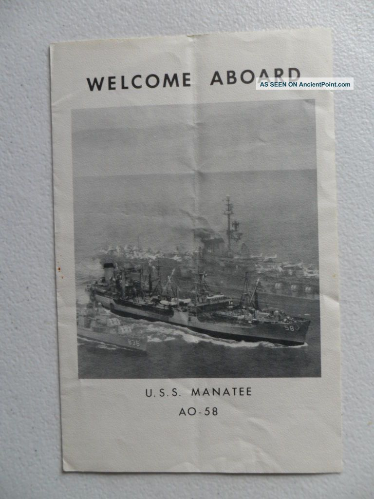 Naval / Navy Uss Manatee (ao - 58) Welcome Aboard 1963 Coral Sea Week Sydney Other Maritime Antiques photo
