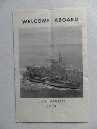 Naval / Navy Uss Manatee (ao - 58) Welcome Aboard 1963 Coral Sea Week Sydney photo
