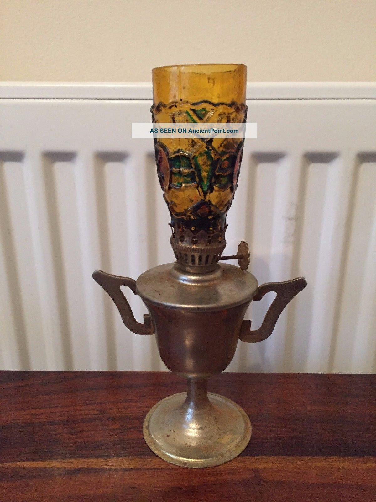 A Small Vintage Metal Trophy Oil Lamp Order Hong Kong Made 20th Century photo