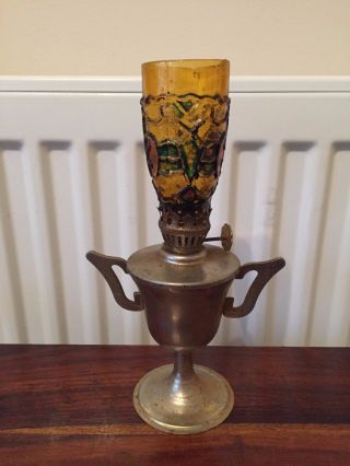 A Small Vintage Metal Trophy Oil Lamp Order Hong Kong Made photo