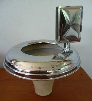 Art Deco Smoker ' S Stand Ash Tray Top.  Chrome,  Bakelite. photo