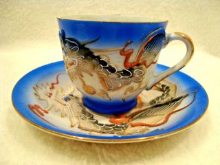 218 Blue Asian Dragonware Porcelain Demitasse Cup And Saucer Made In Japan. photo