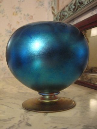 Antique Durand Blue Rose Bowl Glass Vase Marked 5.  5