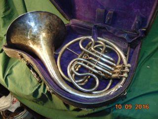Vintage C.  G.  Conn Ltd Silver French Horn Ser 401626,  Case - Antique Horn photo
