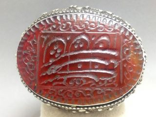 Antique Persian Islamic Sterling Silver & Carnelian Large Seal Stamp Ring (9 1/4) photo