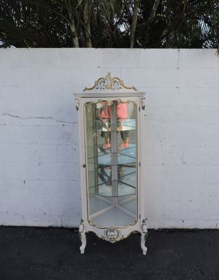 French Painted Carved Corner Glass Front Curio Display Cabinet China Closet 7921 photo