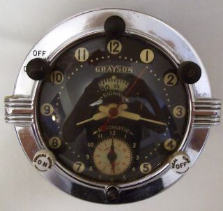 Vintage Grayson Stove Range Clock Timer Arg - 1a Art Deco Chrome 3 Dial photo