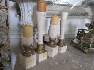 4 Fabulous Old Architectural Repurposed Church Posts Candle Holders Chippy White photo