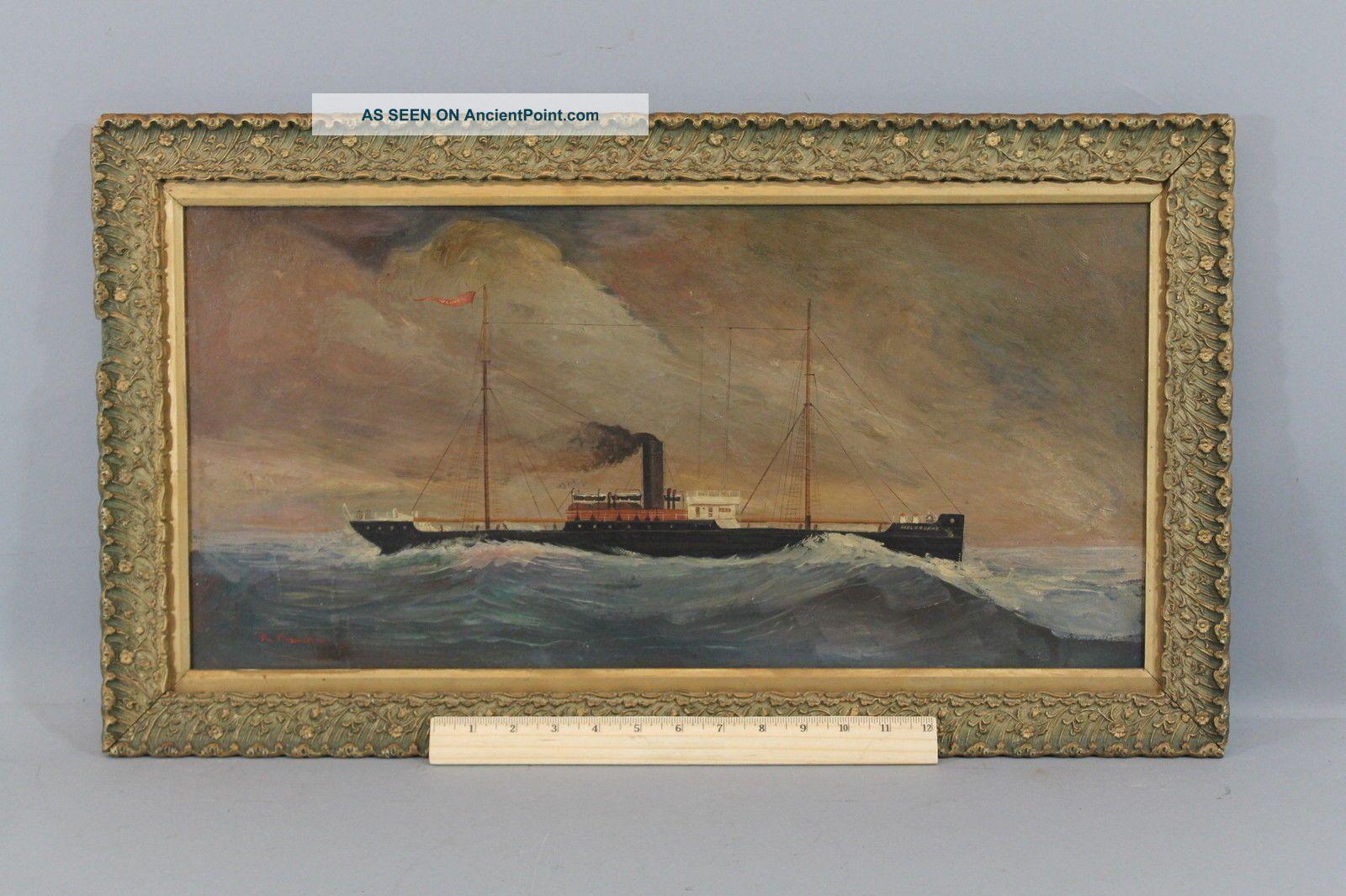 Antique 1892,  Steamer Melbourne,  Australian Steamship Co.  Portrait Oil Painting Other Maritime Antiques photo