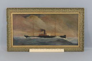 Antique 1892,  Steamer Melbourne,  Australian Steamship Co.  Portrait Oil Painting photo