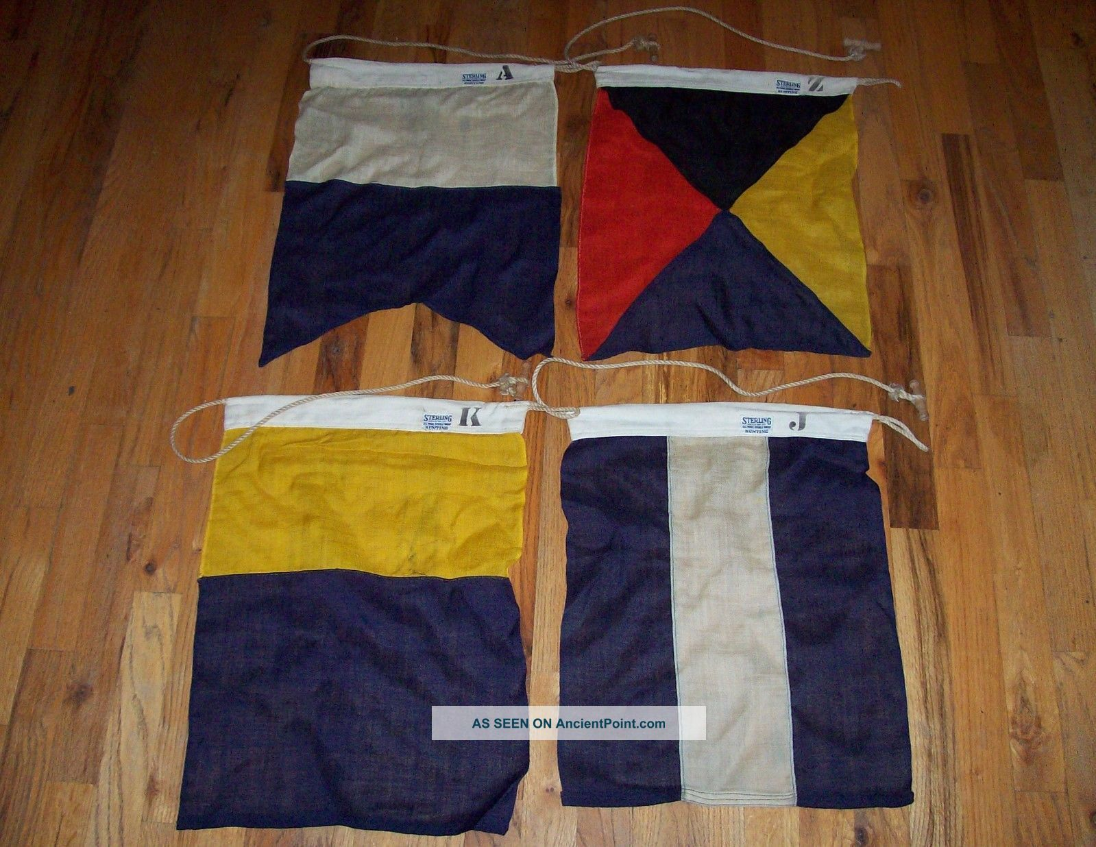 1950s Sterling Yachting Wool Signal Flags Letters A,  J,  K,  Z And Beauties Other Maritime Antiques photo