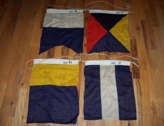 1950s Sterling Yachting Wool Signal Flags Letters A,  J,  K,  Z And Beauties photo