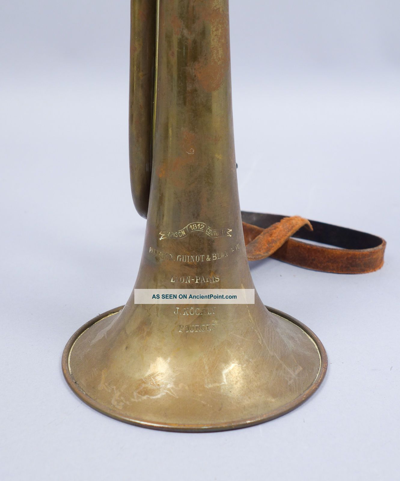 Antique C1900 French Pelisson Guinot & Blanchon Brass Bugle Maison 1812 Couturie Brass photo