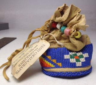 Signed Ca.  1950 ' S Dakota Indian Reserv.  Hide Pouch W/ Beadwork By Agnes Bad Wound photo