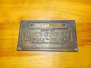 Fellows And Stewart Vintage Boat Builders Brass Plaque 1946