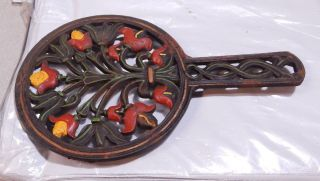 Vintage Wilton Cast Iron Trivet Tulip Design Farmhouse Kitchen Decor photo