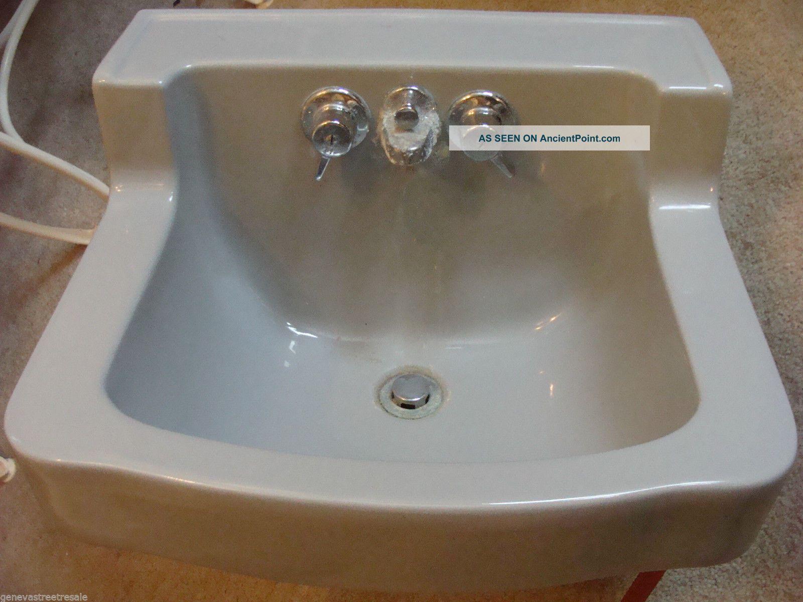 Vintage Briggs Bathroom Kitchen Gray Porcelain Sink W/fixtures Mid Century Sinks photo