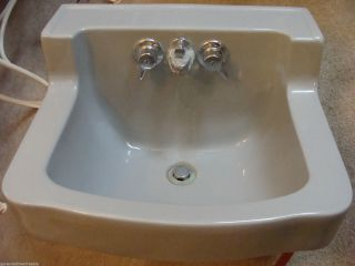 Vintage Briggs Bathroom Kitchen Gray Porcelain Sink W/fixtures Mid Century photo