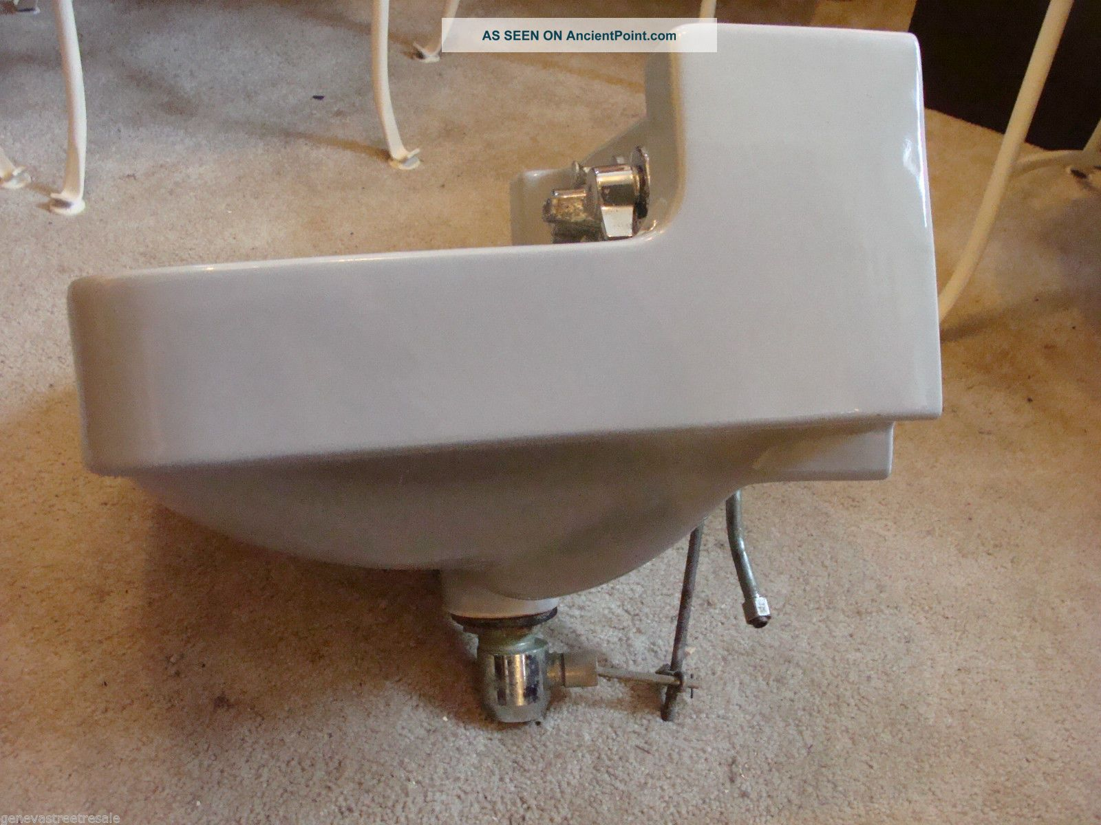 Vintage Briggs Bathroom Kitchen Gray Porcelain Sink W/fixtures Mid ...