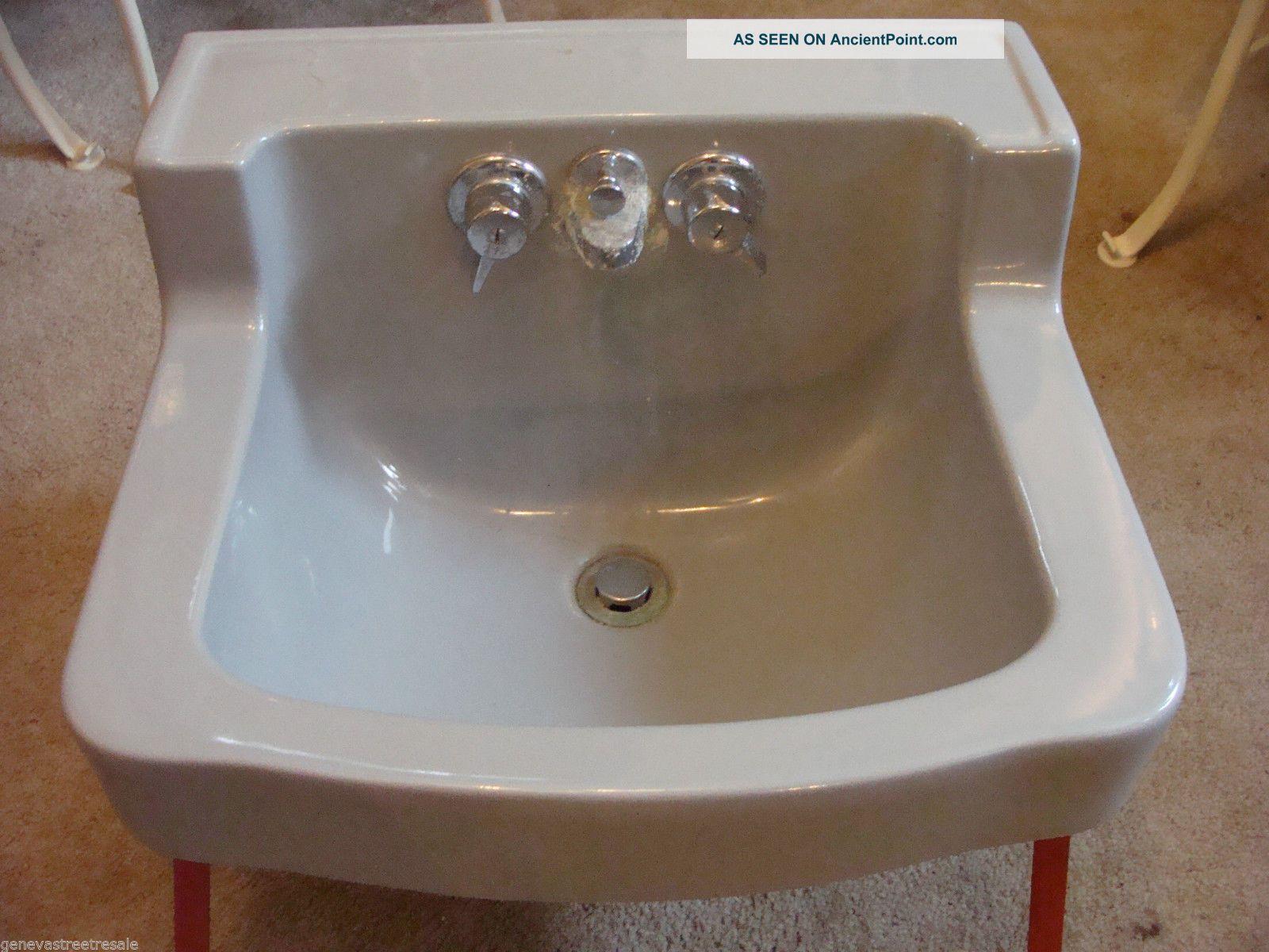 Briggs Bathroom Sinks : Vintage Briggs Bathroom Kitchen Gray Porcelain Sink W/fixtures Mid ...