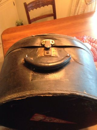 Antique Vintage Round Black Leather/vinyl Hat Box /train Case With Key photo