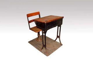 Antique Cast Iron/wood School Desk - - Pencil Tray,  Ink Well photo
