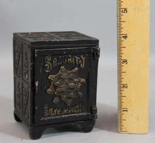 C1900 Antique Painted Cast Iron Security Safe Deposit Still Bank, photo