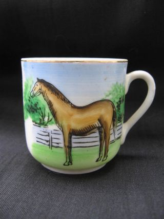 1930s Abraham Lincoln Boyhood Home Horse Souvenir Demitasse Porcelain Cup photo