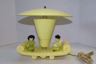 Vintage 1950 Tv Lamp Porcelain Chinese Figurese Fiberglass Shade & Light Cover photo