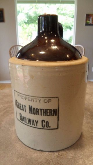 Rare Great Northern Railway Co.  Red Wing Uber Rare Black Stamp 1 Gal.  Crock Jug photo