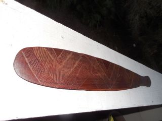 Old Hand Carved Wooden Lime Spatula 26 1/4