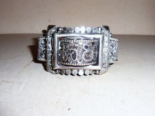 Great Antique Tunisian Persian Arabic Sterling Silver Pin Hinged Cuff Bracelet photo