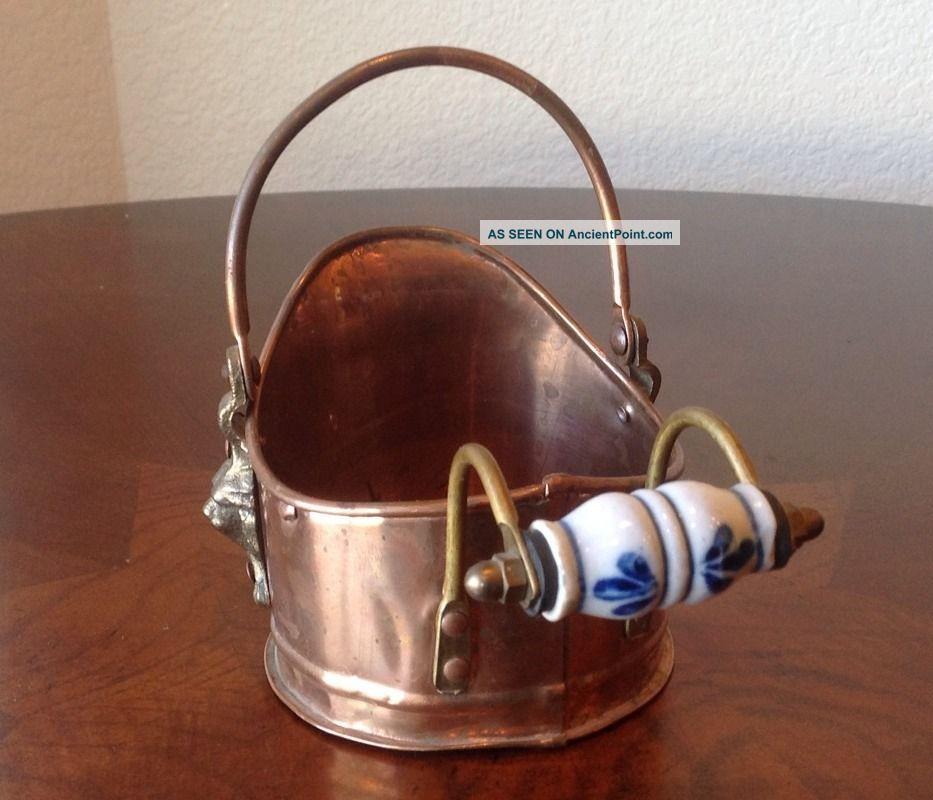 Dutch Copperware Mini Fireplace Ash Coal Scuttle Bucket Delft Handle Lion Hinges Hearth Ware photo