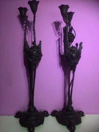 Look Art Nouveau Antique Bronze Auguste Cain Signed
