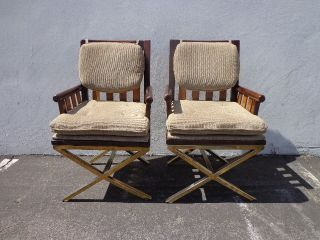 2 Chair Armchair Gold X Base Regency Glam Pair Mcm Vintage Mid Century Modern photo
