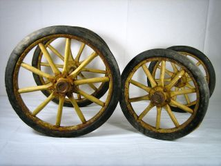 Antique Wagon Cart Buggy (4) Wooden - Spoke - Wheels Rubber Tread photo