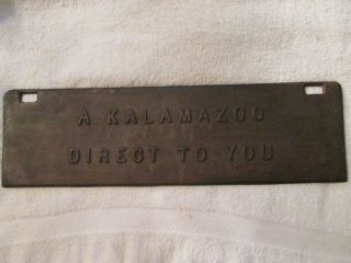 Antique Kalamazoo Direct To You Sign Michigan Stove Furnace Door Cast Iron photo