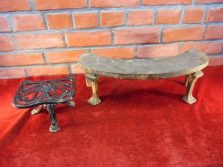 2 Antique Cast Iron Hearth Ware Trivet Stands Stools Justryte Victorian Half Moo photo