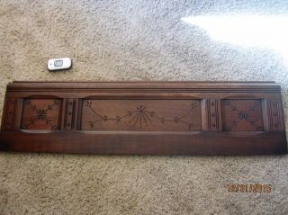 1800s Eastlake Spoon Carved Furniture Panel Walnut? Victorian Pediment Coat Rack photo