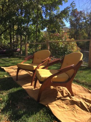 Vintage Adrian Pearsall Mid Century Modern Walnut Lounge Chairs photo