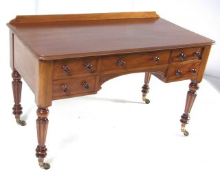 B343 William 4th.  Mahogany Writing Desk,  Table With Five Drawers,  Signed photo