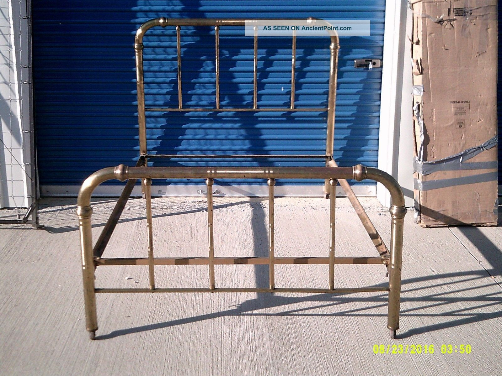 Vintage Full Size Brass And Metal Bed: Headboard,  Footboard And Rails 1900-1950 photo