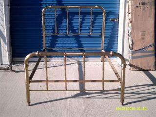 Vintage Full Size Brass And Metal Bed: Headboard,  Footboard And Rails photo
