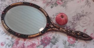 Antique,  Vintage Barbola Style,  Extra Large Shop Display Mirror,  Roses photo