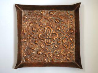 Antique Arts & Crafts Handmade Copper Tray C.  1900 photo