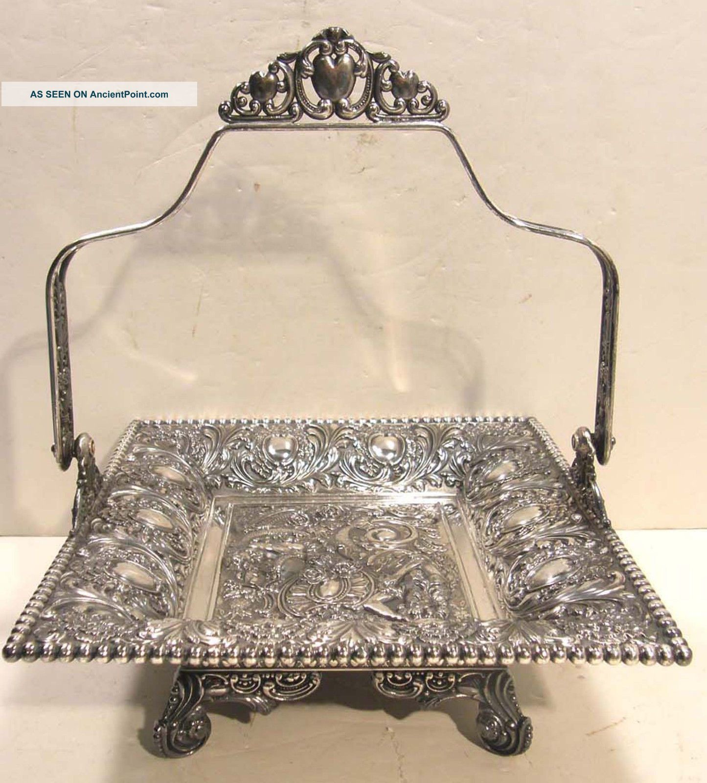 James Tufts Victorian Silverplate Footed Bride ' S Basket Ornate Mermaid Cherub Baskets photo