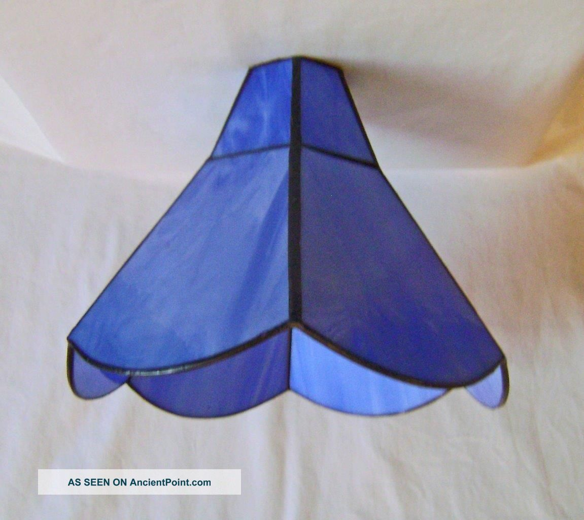 Vintage Stained Glass Leaded Lamp Shade : Light Blue Marbled 8