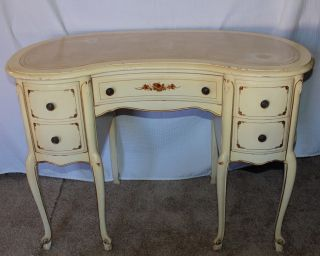 French Hand Painted Kidney Shaped Ladies Writing Desk With Leather Top photo